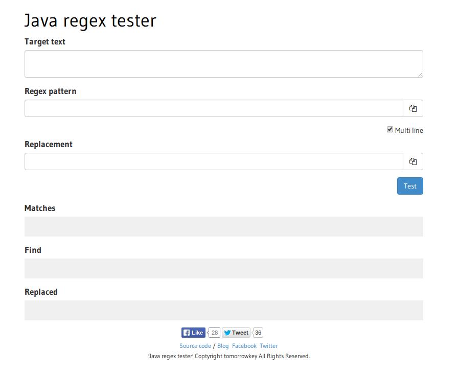 Java regex tester